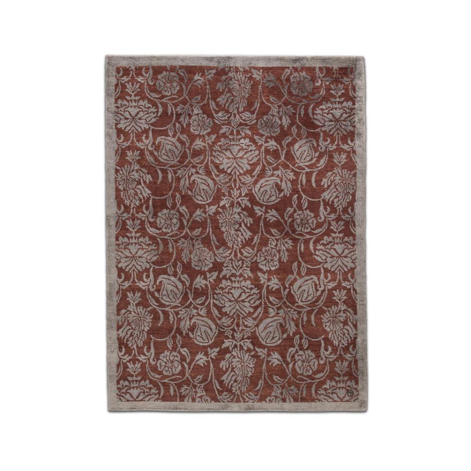 Teppich mit Seide braun blau